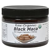 Black Maca Capsules - Raw, Certified Organic, Fresh Harvest From Peru, Fair Trade, Gmo-Free, Gluten Free And Vegan 750 Mg, 200 Ct by The Maca Team, LLC