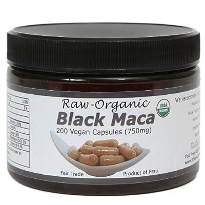 Black Maca Capsules - Raw, Certified Organic, Fresh Harvest From Peru, Fair Trade, Gmo-Free, Gluten Free And Vegan 750 Mg, 200 Ct by The Maca Team, LLC