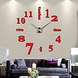 KESOTO Groß XXL 3D Wand Uhr Wanduhr Wandtattoo Wandsticker Aufkleber Spiegel Deko für Wohnzimmer - Rot #4