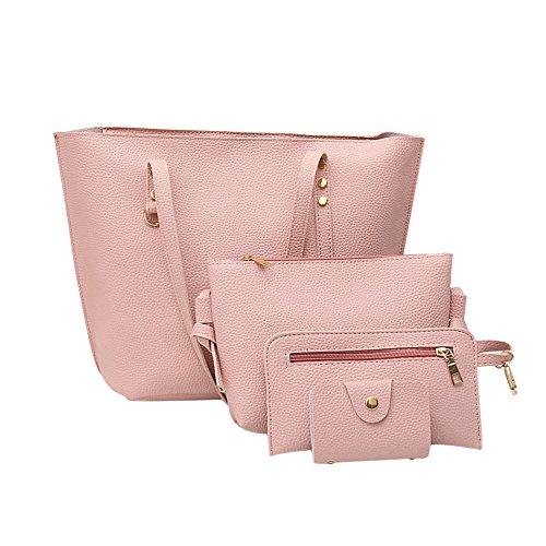 Damen Handtaschen Set, Handtaschen Umhängetasche Frauen Tote Handtaschen PU Leder Schultertasche Geldbeutel Set 4 teiliges mit Crossbody Tasche, Handgelenktasche und Brieftasche (Rosa)