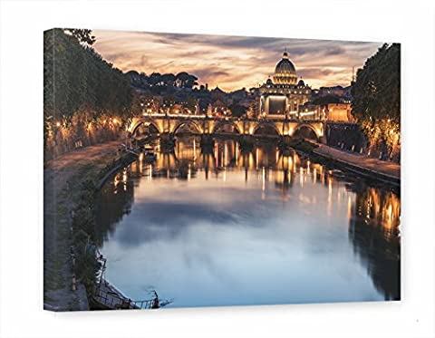 artboxONE canvas 150x100 cm cities Cities / Rome Travel / Country architecture Rome - Sunset over the Tiber and the Vatican design canvas