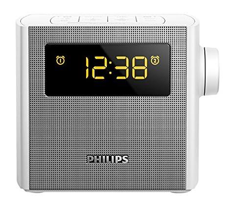 Philips AJ4300W Radio réveil avec tuner FM, port USB de recharge, double alarme, affichage réglable, Blanc