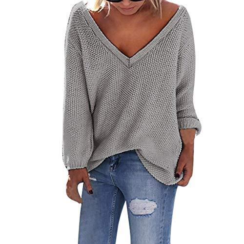 DEELIN Damen Langarm Pullover Lässige Rundhals Lose Bluse Shirt Sweatshirt Oberteil Oversize Tops (Rundhals-pullover Lambswool)