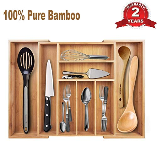 Cutlery Tray & Drawer Organizer—Large Expandable Utensil Organizer 8 Compartments, 2 with Adjustable Dimensions, Beautiful and Durable Bamboo