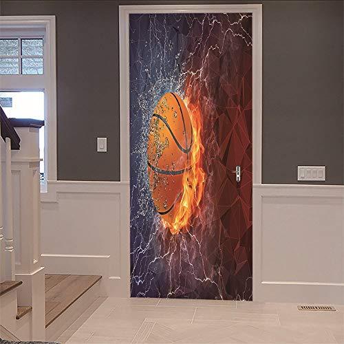 3d aufkleber tür basketball diy wandbild (77x200cm) vinyl abnehmbare poster für tapete für kinder wohnzimmer schlafzimmerdekoration kunst