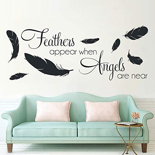ganlanshu Wenn Sich der Engel in der Nähe des Vinyls befindet, Wird die Vogelfeder als Vogelfedermuster-Wandkunst für das Schlafzimmerdekorations-Wandbild 75 cm x 192 cm angezeigt