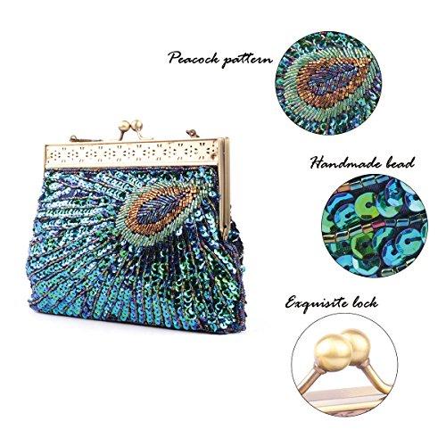 La Desire Fascetta Handmade dell'innamorato del pavone ha bordato la borsa del sacchetto di cerimonia nuziale della borsa di sera ricamata Turchese