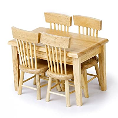 OULII 5pcs 112 Dollhouse Miniature Dining Table Chair Wooden Furniture Set (Wood Color)
