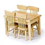 vorcool 5x 1/12Puppenhaus Miniatur Esstisch Stuhl Holz Möbel Set (Holz Farbe)