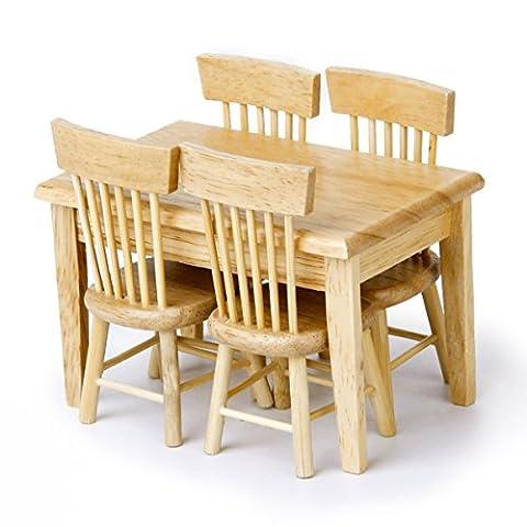 OULII 5pcs 112 Dollhouse Miniature à manger Table chaise meubles en bois de set (couleur bois)
