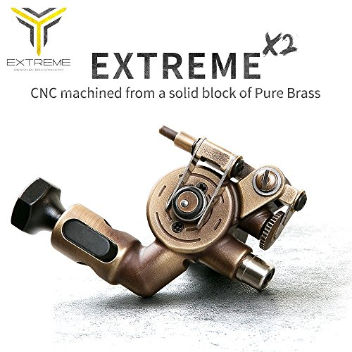 Dragonhawk Extreme X2 Rotary Tattoo Machine Brass Frame CNC Machine RCA Connected for Tattoo Artists - Rotary Switch Light