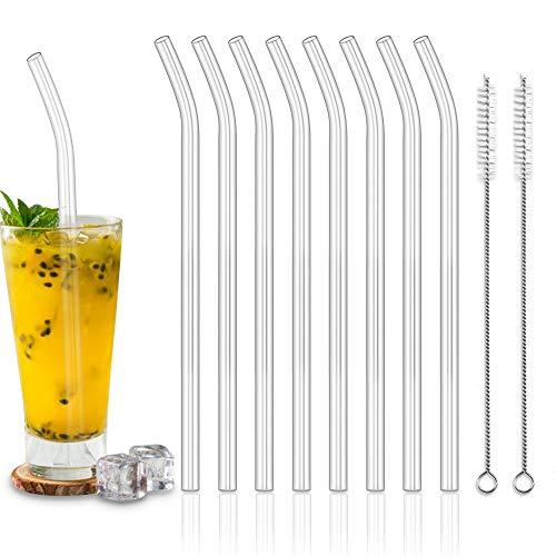 Glas Strohhalme,Vegena 8 Stück Wiederverwendbare gebogene Glas Trinkhalme + 2 Reinigungsbürste Glastrinkhalme Gesund, Umweltschonend, Frei von BPA Glasstrohhalme für Cocktail, Smoothie usw
