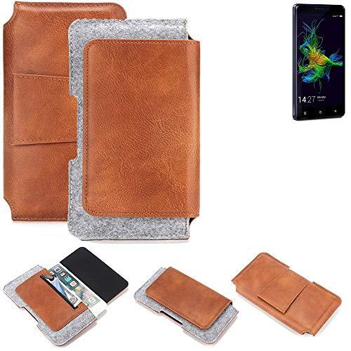 K-S-Trade® Für Allview P8 Energy Mini Gürteltasche Schutz Hülle Gürtel Tasche Schutzhülle Handy Smartphone Tasche Handyhülle PU + Filz, Braun (1x)