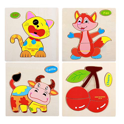 Isuper 3D Holz Stichsägen Cartoon Tier Pädagogische Puzzles Bunte Obst Puzzles für Kinder, Kleinkinder, Vorschulkinder 4 PCS