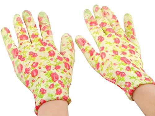 Iso Trade Gartenhandschuhe Blumendekor Handschuhe Arbeitshandschuhe Garten Gartenzubehör Bunt 1 Paar Gummi/Nitril Damen Schnittfest Blumen Landschaft 3471