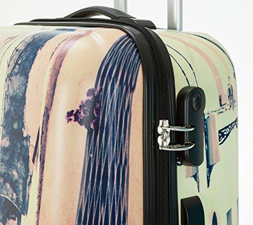 FABRIZIO Hartschalenkoffer Koffer ABS Kunststoff mit Polycarbonat Film + Koffergurt + Flüßigkeitenbeutel (Leopard SET 60 + 70 cm) Italy 60 cm
