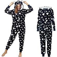 398352b006663d Dreamlove Damen Jumpsuit Onesie Overall Einteiler Pyjama Schlafanzug  Trainingsanzug Ganzkörperanzug Hausanzug Mit Kapuze & Reißverschluss