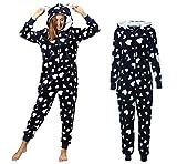 Dreamlove Damen Jumpsuit Teddy Fleece Einteiler Overall Anzug Flauschig Schlafanzug Overall Loungwear Navy-Weiß XL
