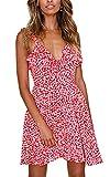 Angashion Damen Sommerkleid Strandkleid Blumen gedruckt ärmellos modisch Minikleid Frauen V-Ausschnitt Partykleid Abendkleid Rot M