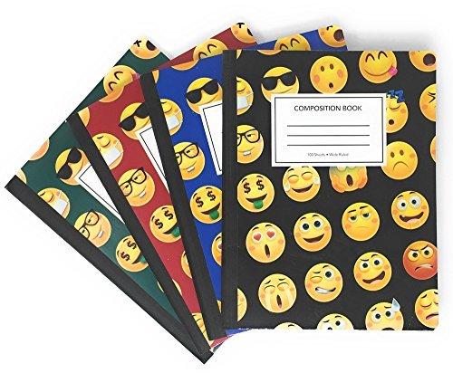 Book sox emoji composition notebook, wide ruled, 100fogli, 9–3/10,2cm x 7–1/5,1cm 4-pack