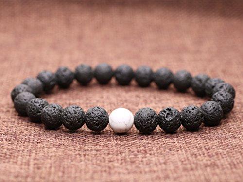 COAI® Geschenkideen Glücksarmband aus Vulkanstein und Howlith ein Paar Partner Armbänder