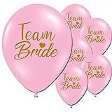 10 x Team Bride Gold Hen Night Party Latex Printed Black Pink Balloons (Baby Pink) Bild