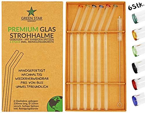 GREEN STAR Premium Glas Strohhalme 6 Stück + Reinigungsbürste - wiederverwendbar, Bunte Spitzen, gebogen, 23 cm, spülmaschinenfest, handgefertigt - Trinkhalm Set für Cocktail, Smoothie, Tee, usw. - Gebogene Spitze