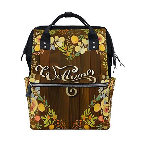 Willkommensschild auf Holzbrett mit Blume große Kapazität Windel Taschen Mama Rucksack Multi Funktionen Windel Pflege Tasche Tote Handtasche für Kinder Baby Care Travel Daily Women
