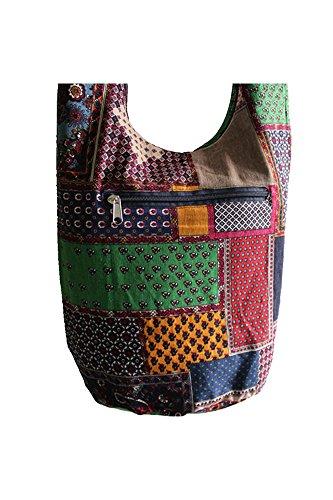 Vococal® Damen Bunte Muster Country Stil Baumwoll Canvas Schultertaschen - Frauen Lässige Umhängetaschen Crossbody Taschen, Quadratisches Stück Quadratisches Stück