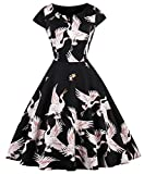 FAIRY COUPLE 50s Vintage Retro Short Sleeves Floral Cocktail Swing Party Dress DRT055(S,Black Crane)