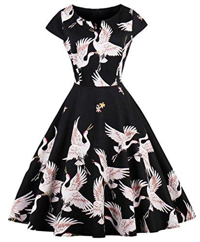FAIRY COUPLE 1950S Retro Rockabilly Tupfen Kappen Hülsen Abschlussball Kleid DRT055(XL,Schwarz Gänse) (Weihnachten Kleider Damen)