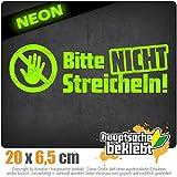 Bitte nicht streicheln 20 x 6,5 cm IN 15 FARBEN - Neon + Chrom! Sticker Aufkleber