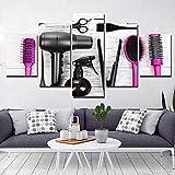 5 Pezzi di Canvas printinghairdressing salonbeauty e Parrucchieri Wall Art Soggiorno Camera da Letto Decorazione Pittura (Senza Cornice), 40x60cmx2 40x80cmx2 40x100cmx1