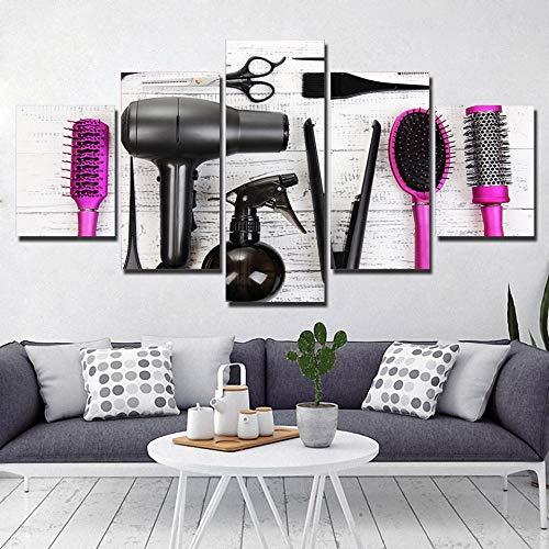 5 piezas de impresión en lienzo, peluquería, belleza, peluquería, arte de la pared, sala, dormitorio, decoración, pintura (sin marco), 20x35cmx2 20x45cmx2 20x55cmx1