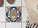 Bodenfliesen-Dekor | Klebe-Sticker Aufkleber Folie Küchenfliesen Bad-Folie Badgestaltung | 20x20 cm Muster Ornament Golden Twenties - 1 Stück