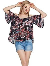 NiSeng Mujeres Camiseta De Manga Corta Impresa De La Camiseta Del Fuera Del Hombro Flor Imprimieron La Camisa De Estampado De La Suelta Cuello Barco Blusa Shirt