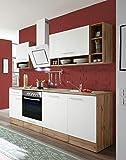 respekta salle à manger cuisine bloc de cuisine cuisine intégrée 220 cm Chêne sauvage blanc
