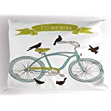 Lunarable Bicycle Pillow Sham, I Love My Bike Concept with Birds on The Seat Cruisers Basic Vehicle Simplistic Art, Decorative Standard Queen Size Printed Pillowcase, 30 X 20 inches, Green Blue