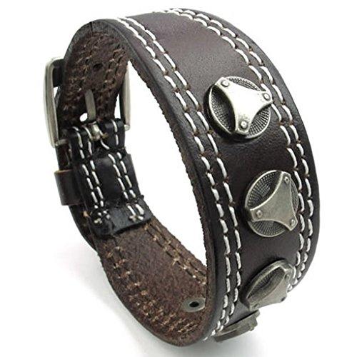 Epinki Edelstahl Armband, Herren Manschette Armbänder Edelstahl Randstein Braun Länge 8 IN