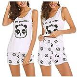 Unibelle Damen Schlafanzüge Nachtwäsche Nachthemden Ärmel Süßes Muster Komfortable Heimnachtwäsche Sleepwear Pyjama Sets