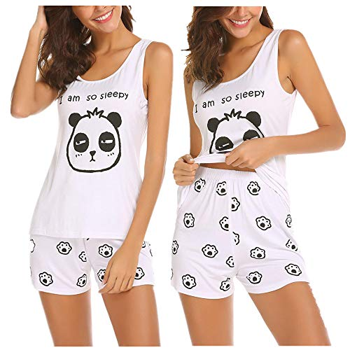 Unibelle Damen Schlafanzug Pyjamas Ärmellos Loungewear Einteiliger Hausanzug Sleepwear Zweiteilige Nachthemden -