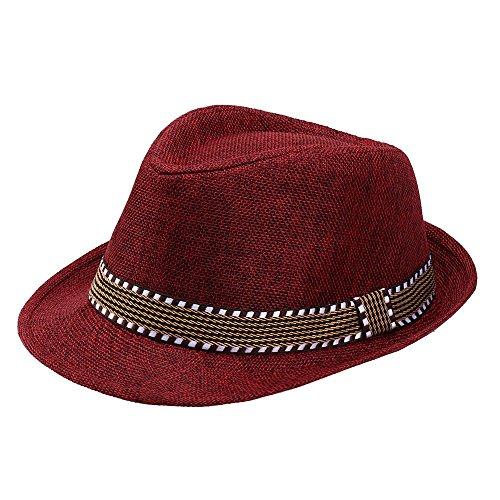 Lonshell_Damen Cap Kinder Mädchen Junge Mode Jazz Mütze Kappe Strand Sonnenhut Faltbarer Trilby Gangster Hut mit Sonnenschutz breite Krempe für 2-6 Jahre Baby ()