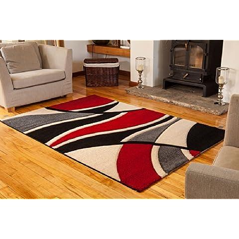 Alfombra de área, elegante, suave, efecto de ondas, roja, negra y blanca - 180 cm x 270 cm (5'11