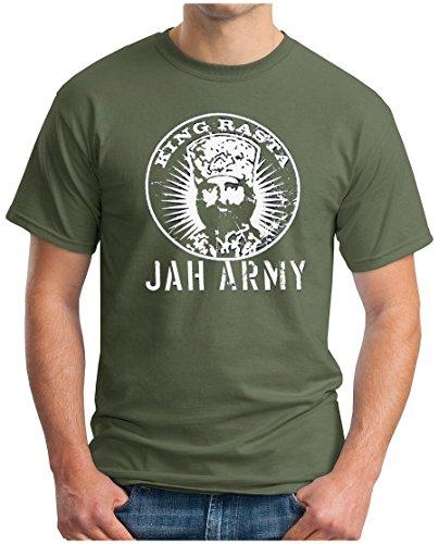 OM3 KING RASTA - T-Shirt Jah Army Roots Reggae Dancehall Ragga Irie Dub Music Dope Ganja Swag, S - 5XL Oliv