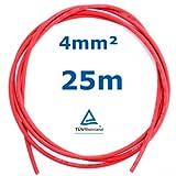 25 m Reiter-Solar SK4025 Solarkabel 4 mm - PV Verbindungs-Kabel unkonfektioniert rot oder schwarz, Farbe:Rot