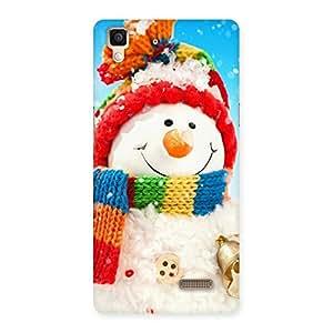 Snowman Multicolor Back Case Cover for Oppo R7