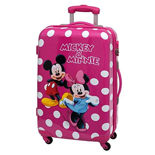 Disney Minnie y Mickey Lunares Maleta Mediana Rígida, Color Rosa, 53 litros