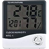 JZK® Digital HTC-1 LCD Montaje en pared para interior Termómetro Higrómetro Medidor de humedad de temperatura Con memoria para el hogar o la oficina