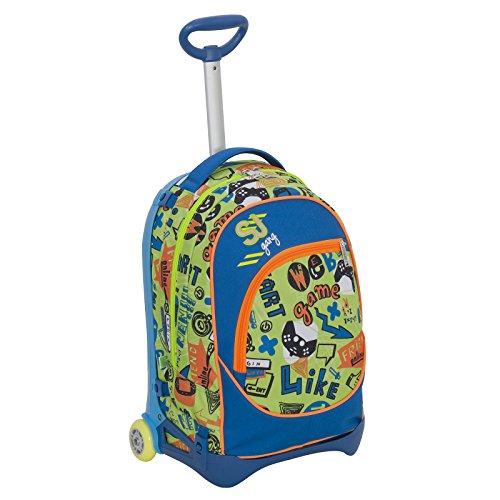Trolley jack junior - sj gang - blu verde - 28 lt sganciabile e lavabile - scuola e viaggio