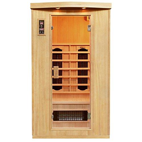 Person, Keramik-infrarot-sauna (Artsauna Infrarotkabine Halmstad Dual-Heizsystem & Hemlockholz | Infrarotsauna mit Keramik- & Flächenstrahler für 1-2 Personen)
